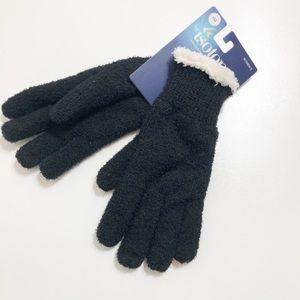 Isotoner Gloves Black Fur Lined